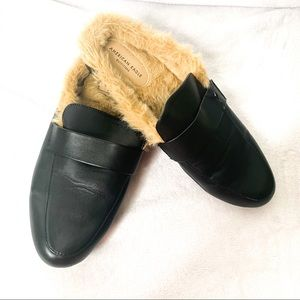 American Eagle Faux Fur Lined Black Slip On Mules
